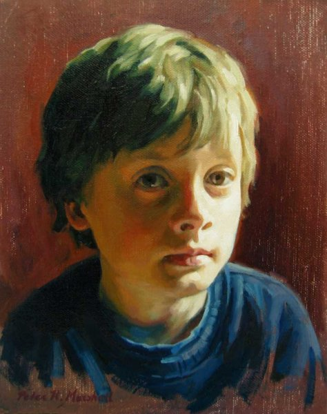 Bodhi - portrait study - oil on canvas on board 20x25.5 cm 2012