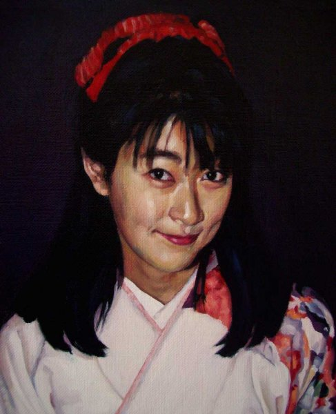 Portrait of Natsuyo Sato - oil on linen canvas 22x26.5 cm 1994