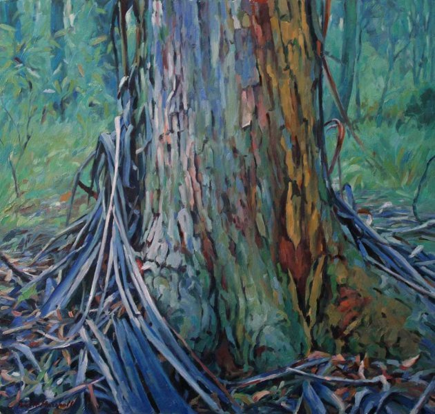 Tree in winter light - oil on board 43x45.5cm 2013-14