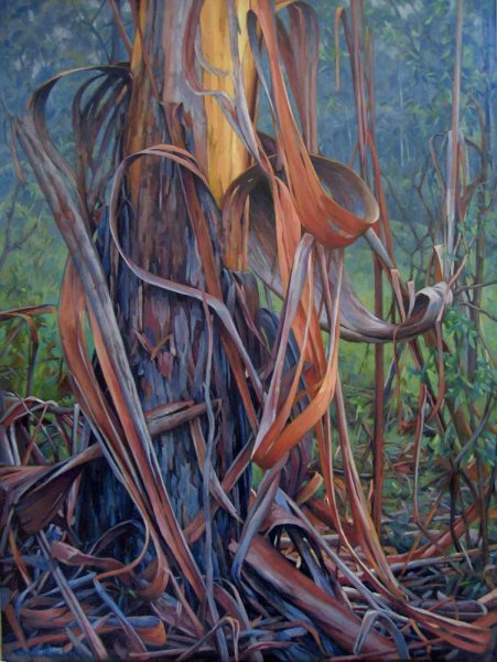 A Heart of Bark in Bushfire Haze - oil on canvas 66x88cm 2013