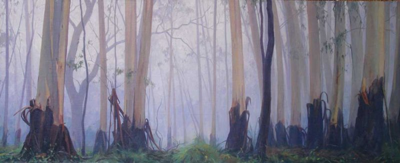 Dawn moving through the Trees46x112cm 2015
