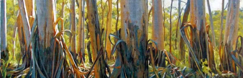 Forest Trees - oil on canvas on board 21x63cm 2013