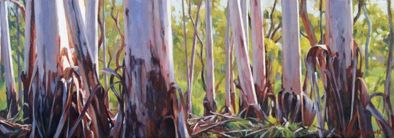 Mountain Gum Vista - oil on canvas 18.5x52.5cm 2015