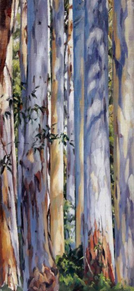 Tall Trunks - Blue Gum Forest - oil on canvas 47x21.5cm 2013