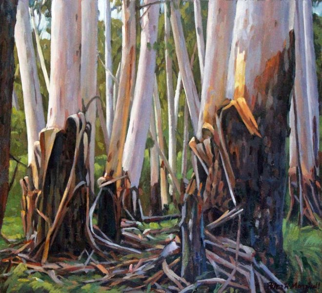 Woodland Gums - oil on gessoed paper 27.5x30cm 2015
