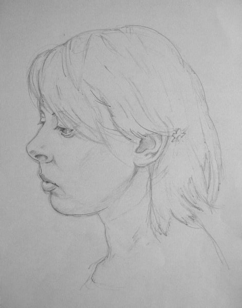 Portrait sketch of Freya - pencil on paper 2009
