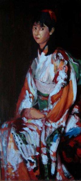 Portrait study of Natsuyo - Acrylic on board 1993