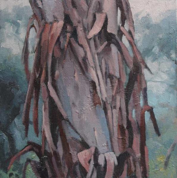 Study for 'TreexChange IIX' oil on canvas 23x23cm 2017