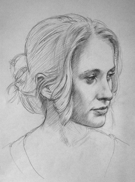 Portrait study of Claire - 2b pencil on paper 2009