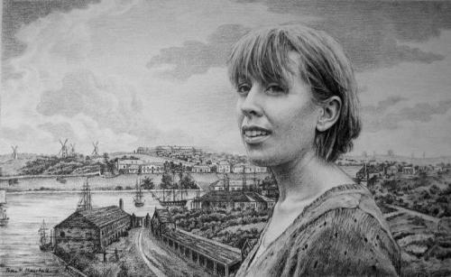 Ciska White with a view of the cove from Dawe's Battery c1818 - willow charcoal on Fabriano paper 42x70 cm 2010. .