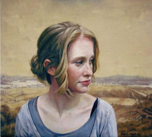 Claire Miller and a view of Sydney from Surrey Hills c.1819. Oil on linen canvas 40x46 cm 2009. .