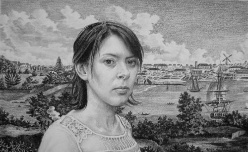 Freya Blackwood and a North-East view of the town of Sydney c1812 - willow charcoal on Fabriano paper 42x69 cm 2009. .