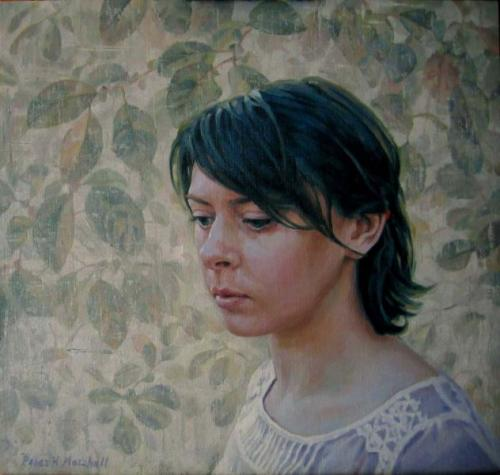 Freya and Foliage - oil on linen canvas 40x42cm 2011
