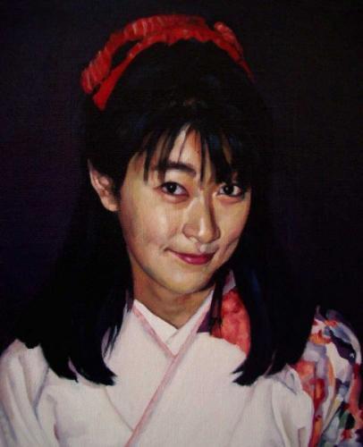 Portrait of Natsuyo Sato - oil on linen canvas 22x26.5 cm 1994