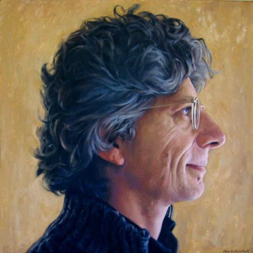 Profile portrait of Phil Somerville - oil on linen canvas 76x76 cm 2008-9