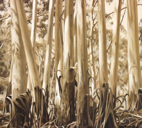 Trunks in Sunlight - oil on gessoed paper 32.5x36cm 2015