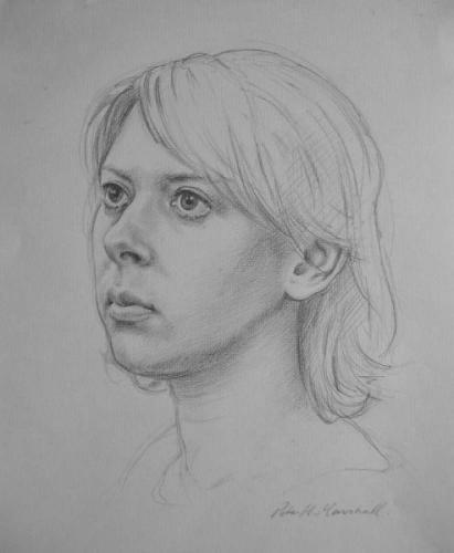 Portrait study of Freya - pencil on paper 2010