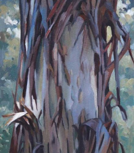 Tree Study Sept 2017 oil on sealed paper 16x16cm