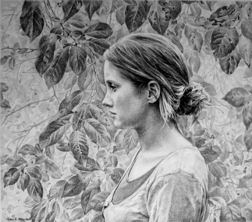 Garland - willow charcoal on Fabriano paper 54x62 cm 2010