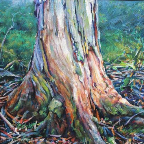 Tree Trunk - Gouache and Pastel on paper 30x30cm 2012