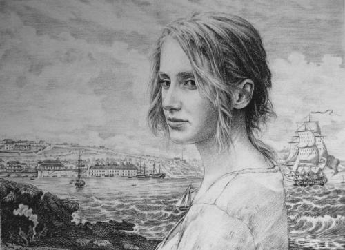 Claire Miller and a view of Campbell & Co. Mercantile House, Sydney c1813 - willow charcoal on Fabriano paper 44x60 cm 2010. .