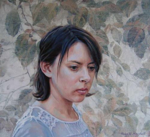 Freya Blackwood and the memory of soft European foliage. Oil on linen canvas 42x46 cm 2009. .