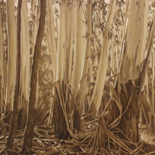 A Wooded Glen - oil on gessoed paper 38x38cm 2015