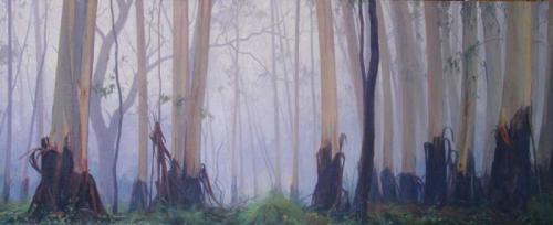 Dawn moving through the Trees46x112cm 2015