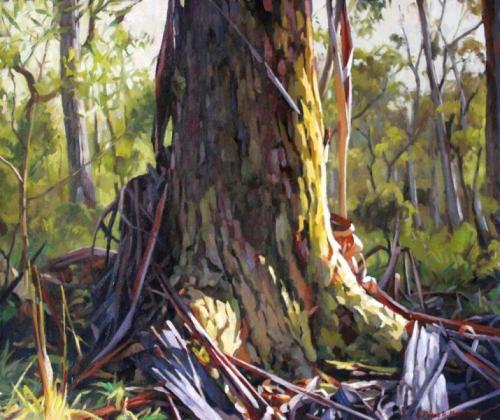 Where Bark Falls - oil on gessoed paper 44x53cm 2015