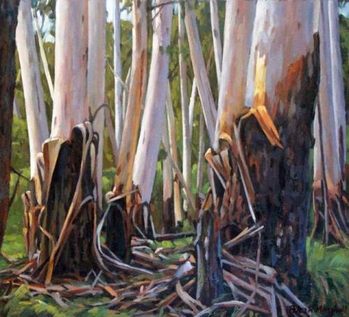 Woodland Gums - oil on gessoed paper 27.5x30cm 2015