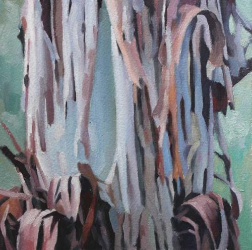 Tree study March 2017 oil on sealed paper 15.5x15.5cm